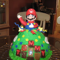Super Mario  Wundermold chocolate cake with bc icing and fondant accents. Mario is Rice Krispie treat molded to shape. Design idea from several cakes...