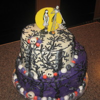 Jack And Sally Birthday Cake   1st topsy turvy attempt. WASC bottom tier, top tier is chocolate cake with vanilla bc filling.