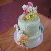 Anniversary Cake For Friend 30th anniversary is: color: green, jewel: pearls and flower: sweetpea. My first sweet peas. Best part, she loved it! Lemon cake, fondant,...