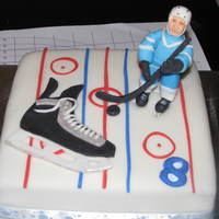 Hockey Cake Hockey birthday cake for my friends 8 year old. Chocolate cake, fondant, fondant/gumpaste figure and skate. Thanks for inspiration from cc...