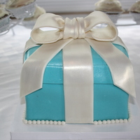 Tiffany Gift Box Covered in fondant. Bow is gumpaste