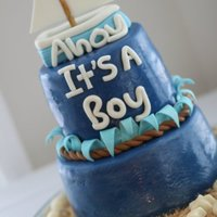 Nautical Baby Shower Cake! Covered in fondant. Sailboat made with gumpaste