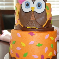 Owl 1St Birthday Buttercream with fondant/gumpaste decorations