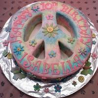 Tye-Dye Peace Sign Cake