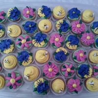 Mini Flower & Bee With Beehive Cupcakes Made these for my manager who was leaving.
