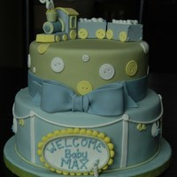 "Nikki's Baby Shower Cake Inspired by one of Rebecca Sutterby's baby shower cakes. Strawberry cake on 10"" tier and CC ""Killer choc cake"" on 8&..."