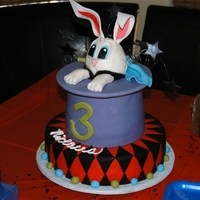 "Niklaus Birthday 8x6 inch high tier with fondant covered ""hat brim"", sitting on a 10"" tier. Bunny was RKT's and ears, paws, etc. were..."