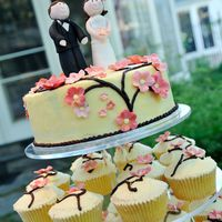 Cherry Blossom Cupcake Tower BC covered vanilla cakes with gumpaste cherry blossom and figures.