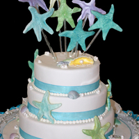 Seaside Wedding Gumpaste shells and starfish, Chocolate Mud cake covered in RTR fondant.