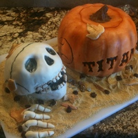 "Fall Baseball Cake - Pumpkin And Skeleton Completely edible.....The pumpkin is cake....thanks for all the help on this one in the""how to"" forum....the skull is cereal..."