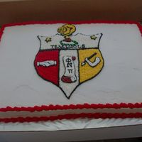 Kappa Alpha Psi Cake made this for a customer's 40th birthday. His wife only wanted the symbol on the cake. All freehand work.