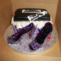 Christian Louboutin Shoes And Shoebox a customer requested this cake, she loved christian louboutin shoes with the famous red bottoms. The shoes have silver dragees individually...