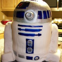 "3D Star Wars R2-D2 Cake Made for my Star Wars-obsessed son's 6th birthday. 3 or 4 (can't remember) stacked 6"" rounds topped w/half 6"" ball pan..."