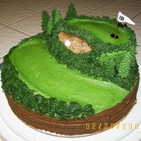 "Golf Course Cake 10"" round cake topped w/6"" round. Carved out sand trap, filled w/brown sugar which soaked in, so I added more after pics. Frosted..."