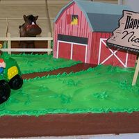 Farm Themed Birthday Cake First cake semi-decorated. Son's 2nd b-day party. Bought qtr-sheet cake at Costco frosted in chocolate icing w/no decoration. Frosted...