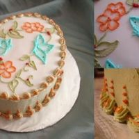 Butterflies I made this little oval cake for my parents for their anniversary. The flowers and butterflies are brush embroidery on fondant. The sides...