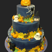 Halloween Cake All figures are fondant. Mickey pumpkin on top.