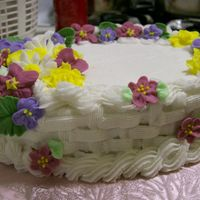 My Flower Garden basket weave just your basic from wilton 2. This cake was very fun to make. My co-workers thought it was store brought