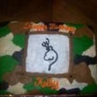 Browning Camoflage Cake all butter cream. Camo was drawn on the cake with tips then smoothed out.