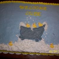 Rubber Ducky Cake   Buttercream icing with sugar ducks