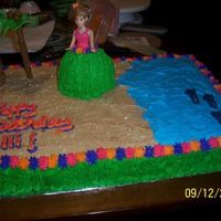 Luau Cake The doll is a cake. Trees and Dolphins are fondant. I used animal crackers for the sand. The side of the cake looks like a grass skirt
