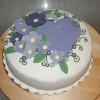 Purple Flower Cake purple flower änd a purple hart