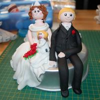 Wedding Cake Topper wedding caketopper whit there baby girl leia =)