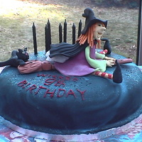 Wicked Birthday Birthday cake for my daughter's 9th. Her birthday is very close to Halloween and she was having a witch themed party