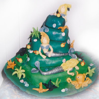 Mermaid Cake For my daughter's 6th. First 'real' 3D novelty cake I made. Sorry, not very good photo.