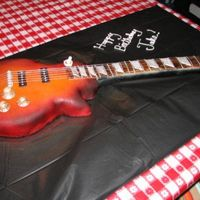 Gibson Les Paul Guitar Cake This is a chocolate cake with vanilla buttercream. The entire guitar is edible, except for the strings.