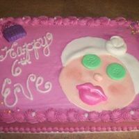 Spa Cake Copied an idea I found on here and Wilton....didn't realize how big the lips were until it wasdone. The little girl loved it though!