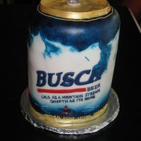 Busch Beer Can all airbrushed/ hand painted, fondant covered.