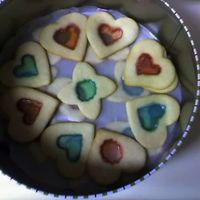 Stained Glass Cookies Butter cookies with jolly rancher centers.