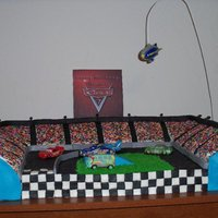Race Track Cake This was my sons 7th birthday cake. He wanted a whole track with pit row and an infield. This was a massive cake and it wasnt nearly half...
