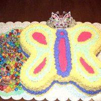 Butterfly Birthday Cake   Bottom half is rice krispie treat & the top is cake. With buttercream frosting.