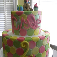 Polka Dot Cake   Polka dots with a dog on top fo my 2 year old niece who loves dogs!