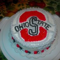 "Buckeye Birthday All done in buttercream frosting takin from the official Buckeye Logo. I do all my cakes strictly in buttercream. I like the ""old..."
