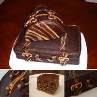 Going Away - Suitcase & Purse For a going away party⦠Purse is 8â chocolate cake, cut in half, then each torted in 3, with dark chocolate...