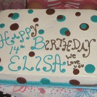 Diddys_Cake.jpg For my niece's birthday. Buttercream with brown & teal MMF circles.
