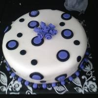 Purple & Black   I got the idea from fellow cake central members. White & Chocolate cake covered in MMF with MMF accents