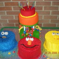 Sesame Street  Birthday cake for my grandson. Big Bird and Cookie Monster are dummies with RI. Rest yellow cake with BC. Thanks to all CC'ers for...