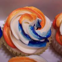 Blue & Orange Swirl Cupcakes These were made by request for my son's birthday. When he asked for blue and orange I thought to myself Y? But didn't say...