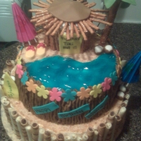 Tajuana's Luau Bday Cake Pina colada cake top and bottom layers and cupcake (tiki hit)....fondant accents, candy flip flops...drink umbrellas...pretzel sticks on...