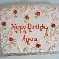 Ayana's Birthday cake for my church member 12 x 18 sheet cake strawberry with real strawberries baked in the cake- another hit!