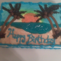 Church Cake For July Bdays butter cake with lemon curd filling......palm trees in buttercream///fondant coconuts.....piping gel and sky blue water and lemon/orange...
