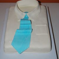 Shirt And Tie I made this cake for Father's Day this year - 11x15 yellow cake with Marshmallow Fondant
