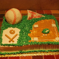 Baseball Cake Baseball is cake wrapped in Fondant, Bat, Gloves, Balls, and Bases are all Fondant. Dirt is Graham Cracker crumbs.