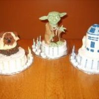 Star Wars Triplet Cakes An Ewok, Yoda, and R2D2 mini cakes for my triplets' 12th birthday. Yoda is covered in fondant, the others are buttercream icings. I...