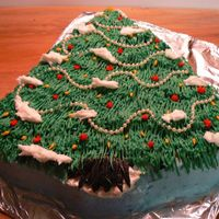 Christmas Tree Cake Apple Spice Cake with BC icing with pearl beading. Got the idea from CC.