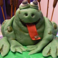 Freddy The Freeloader Frog Close-up of the frog on DH BD cake.